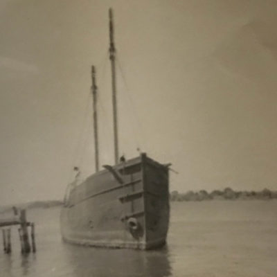 """1870 (Original Location- Riverside Drive) Photo of the """"StoneHenge"""" vessel which transported lumber."""