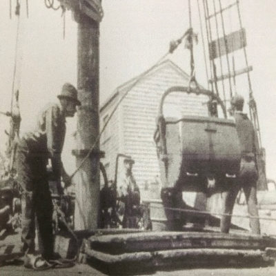"""1885-1905 (Original Location- Riverside Drive) Photo of the """"Alice Wentworth"""" vessel which transported various supplies including coal."""