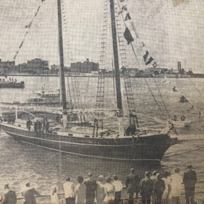 """1965 (Boston, MA) Photo of the """"Alice Wentworth"""" vessel arriving in Boston where it was decommissioned near the famous Anthony's Pier 4 restaurant. The ship delivered product to us at our original location for many years."""